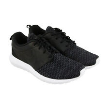 Nike Roshe Nm Flyknit Prm Mens Black Leather & Textile Athletic Running Shoes