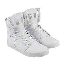 Supra Skytop Ii Mens White Leather High Top Lace Up Trainers Shoes