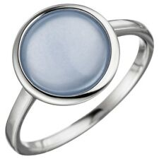 Ladies Ring with Chalcedony Light Blue in Socket 925 Silver Round Plain