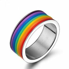 #7-12 Hot Gay Lesbian LGBT Pride Stainless Steel Rainbow Striped Ring Band Size