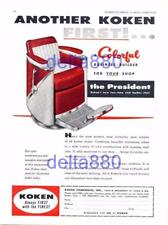 "1958 Barber Shop Full Page Color Print Ad Koken ""The President"" Barber Chair"
