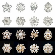 Wedding Bridal Star Flower Snowflake Shape Rhinestone Crystal Brooch Pin Jewelry