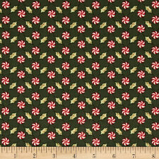 Christmas Whimsy Fabric by Whimsicals Peppermints On Dark Green Premium Cotton
