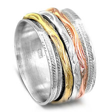 3 Tone Solid 925 Sterling Silver Spinner Ring Spinning Wide Band Men's Women's
