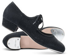 Girls Ladies Black Glitter Low Heel Tap Dance Shoes With Tap Plates By Katz