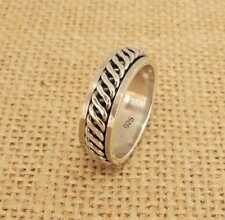 Mens Womens Plain 925 Sterling Silver Celtic Twist Spinning Thumb Band Ring 7mm