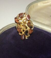 Vintage 70s Jewellery Gorgeous Brutalist Gold Tone Tigers Eye Modernist Ring