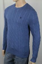 Polo Ralph Lauren Blue Crewneck Cable-knit Sweater Navy Blue Pony NWT