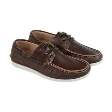 Frye Briggs Boat Shoe Mens Brown Leather Casual Dress Lace Up Boat Shoes