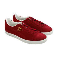 Puma Clyde Mens Red Suede Lace Up Sneakers Shoes