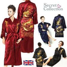 Man Womens SILK Robe Kimono Gown Black Blue Chinese Dragon Sleepwear Dress New