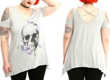 3X Skull Butterfly punk gothic TATTOO cold shoulder Strappy T SHIRT + torrid bow