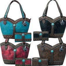 Western Turquoise Concho Fringe Tooling Concealed Carry Tote Handbag Wallet Set