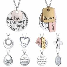 Fashion Family Lover Friend Members Proverbs Love Letter Simple Pendant Necklace
