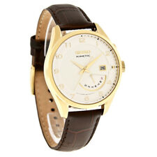 Seiko Kinetic Day/Date Sport Mens Gold Tone Brown Leather Strap Watch SRN052