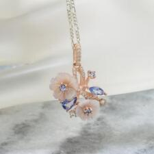 1.21ctw Mother of Pearl Tanzanite Sapphire 14k Rose Gold/Sterling Silver Pendant