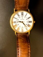 movado esq mens watch leather band gold color