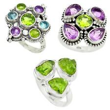Natural peridot 925 sterling silver ring size 7 jewelry 8351B