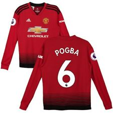 adidas Paul Pogba Manchester United Youth Red 2018/19 Home Replica Long Sleeve