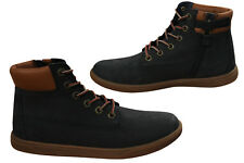 Timberland Groveton Lace Up Juniors Boots Leather Shoes Navy A161T D79