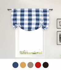 Plaid Gingham Checkered Cotton Blend Kitchen Window Curtain Shade