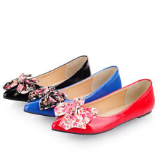 Women Ladies Pointed Toe Bow Slip On Flat Jelly Pumps Ballet Boat Sandals Shoes