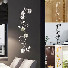 Flower Vine Acrylic Mirror Removable Wall Sticker Decal Manual Home Decors New