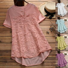 Women Lace Splice Button V-Neck Casual Loose Short Sleeve T-Shirt Blouse Top Hot