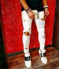Men White Distressed Words Patched Slim Fit Street Style Denim Jeans