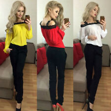 Women's Summer Casual Off Shoulder Long Sleeve Lace T-Shirt Ladies Tops Blouse