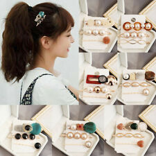 Fashion Women Pearl Acrylic Hair Clips Snap Barrette Stick Hairpin Accessories
