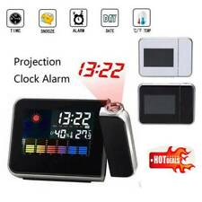 LED Digital Projection Alarm Time Clock  Weather Thermometer LCD Display