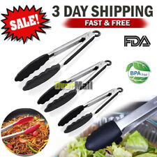 Stainless Steel Kitchen Tongs Food Serving BBQ Cooking Non-Stick Silicone Tip