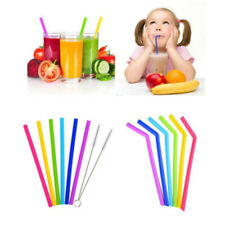 7PCS Reusable Straws Reusable Silicone Drinking Straw with Cleaning Brushes Set