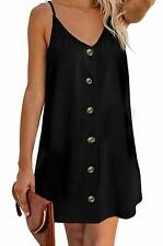 OEUVRE Womens V Neck Button Down Spaghetti Strap Casual Summer Sleeveless Cami B