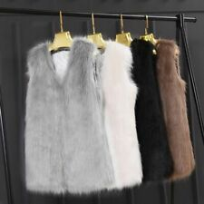 Women Fur Waistcoat Vest V-neck Sleeveless Artificial Faux Hairy Coat Outerwear