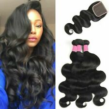 3 Bundles with Closure 100% Unprocessed Brazilian Virgin Human Hair Weave Weft