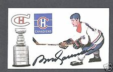 Bobby Rousseau signed Montreal Canadiens index card