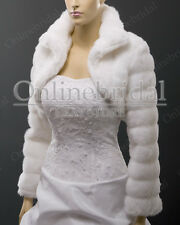Faux fur wedding bolero jacket shrug coat Sz XS,S, M, L