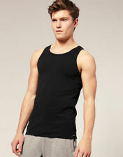 3 x Mens Black Fitted Vests All Sizes 100% Cotton New