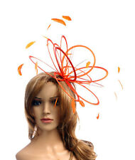 New Orange Feather fascinator hat wedding ascot