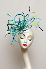 Turquoise blue, Lime green,  Black Feather fascinator hat choose any colours
