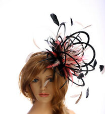 Black Coral Nude Taupe Feather fascinator hat more colours available in my shop