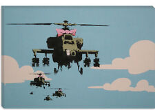 Banksy Happy Choppers-Helicopter Canvas Art Print