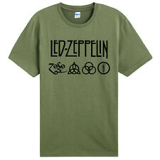 Led Zeppelin-Runes Zoso symbol band Army Green t-shirt