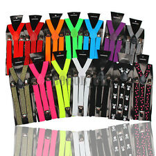 BRACES SUSPENDERS ADJUSTABLE UNISEX NEON UV & PLAIN