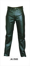 Mens Black Analine Leather Smooth Motorcycle Pants