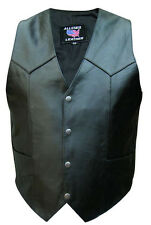 Mens 4 Snap Solid Black Buffalo Leather Motorcycle Vest