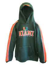 MIAMI HURRICANES YOUTH GREEN EMBROIDERED HOODED SWEATSHIRT NEW