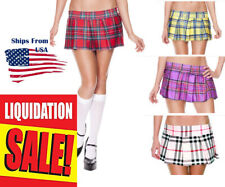 Punk Rock Goth Stretch Tartan Pleated Short Mini Skirt Plaid & Solid - NEW